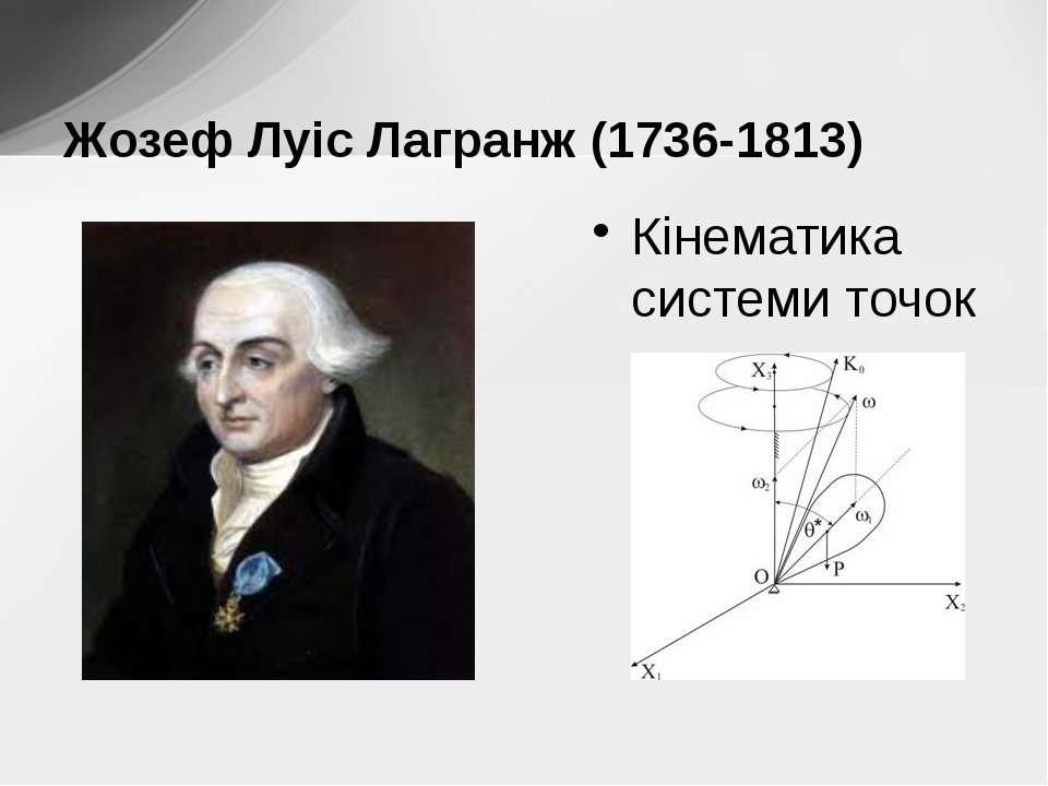 Кінематика системи точок Жозеф Луіс Лагранж (1736-1813)