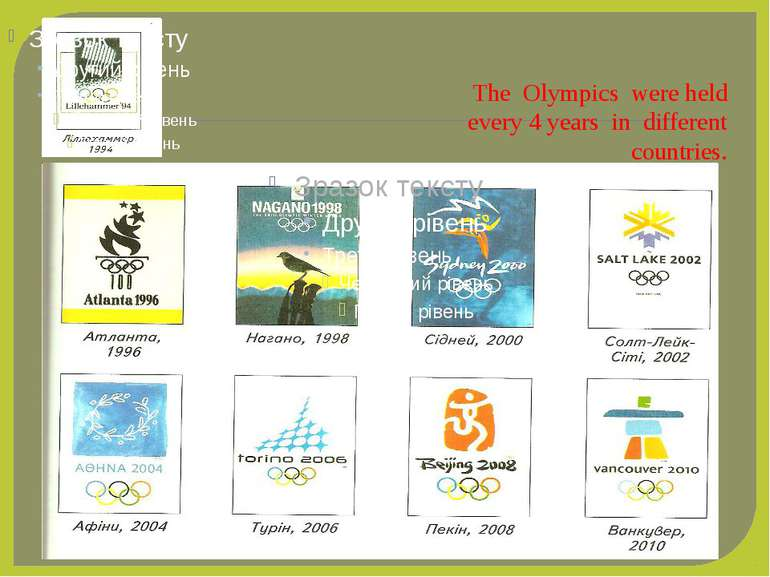 The Olympics were held every 4 years in different countries.