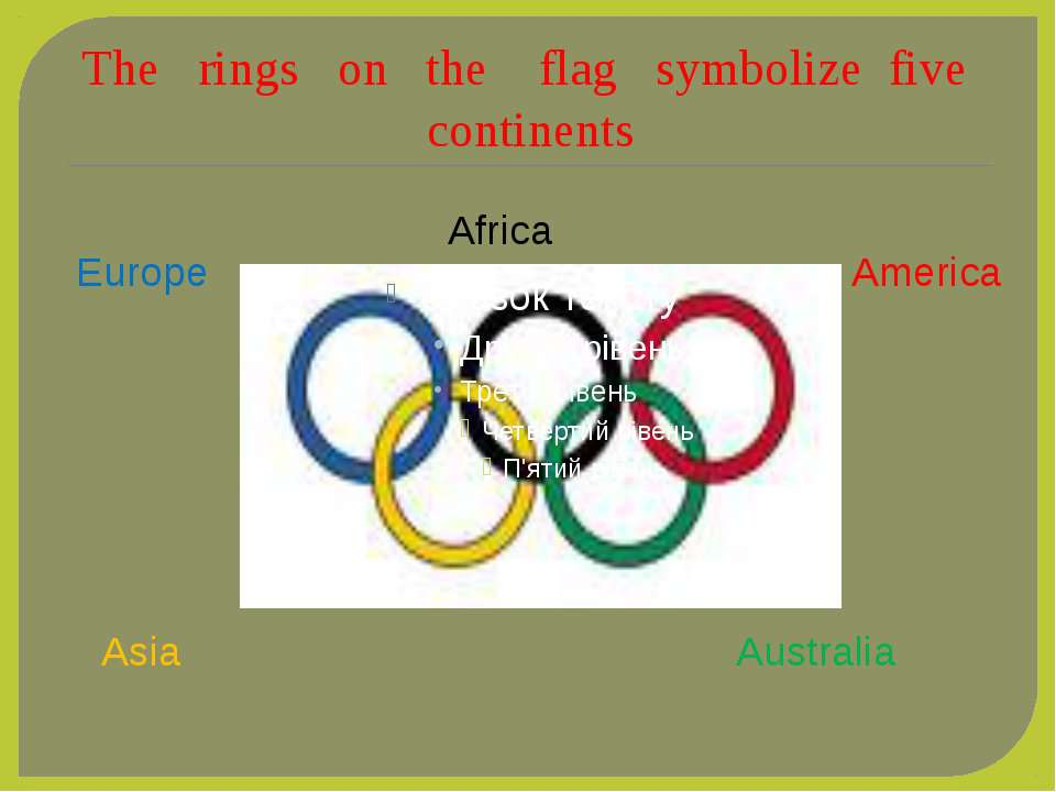 The rings on the flag symbolize five continents Africa America Australia Asia...