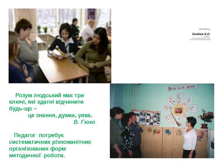 2012-2013 н.р. Богдан А.О. методист з дошкільної та початкової освіти міськог...