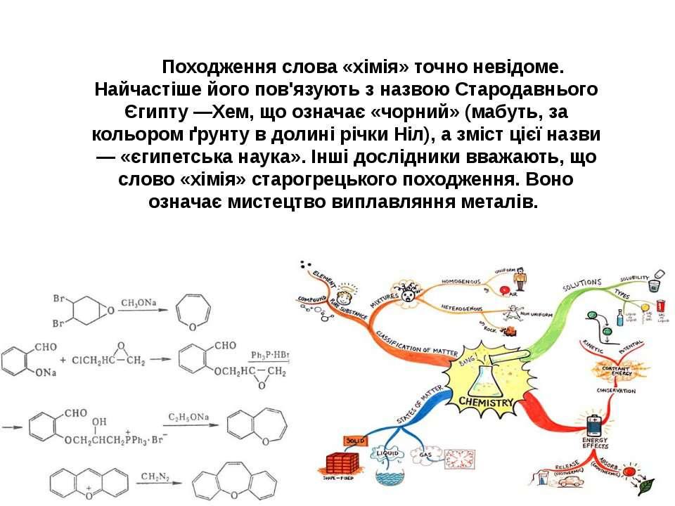 Походження слова «хімія» точно невідоме. Найчастіше його пов'язують з назвою ...