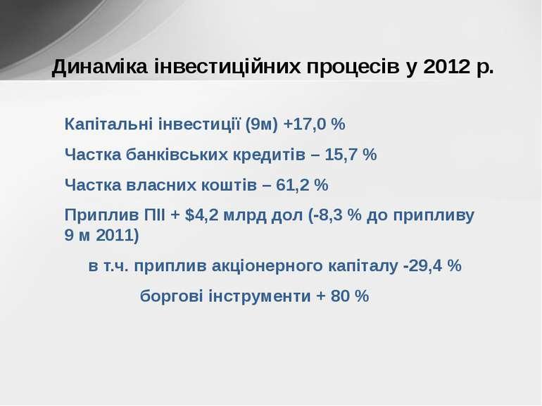 Капітальні інвестиції (9м) +17,0 % Частка банківських кредитів – 15,7 % Частк...