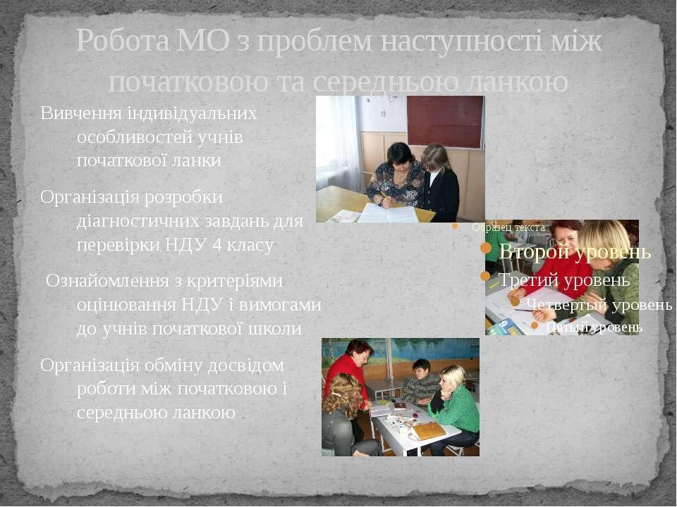 Робота МО з проблем наступності між початковою та середньою ланкою Вивчення і...
