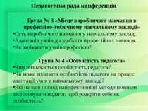 Педагогічна рада конференція Група № 3 «Місце виробничого навчання в професій...