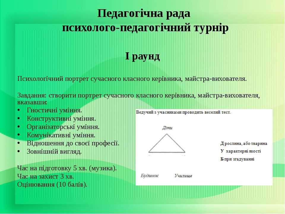 Педагогічна рада психолого-педагогічний турнір І раунд Психологічний портрет ...