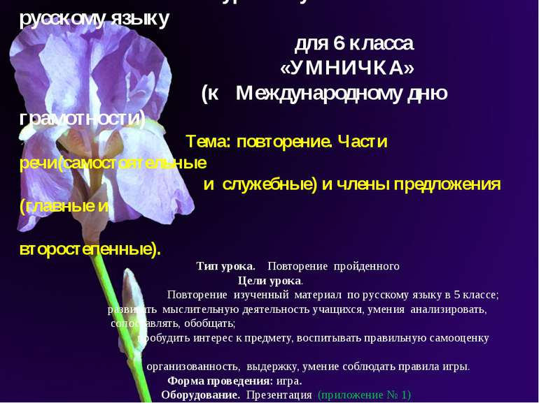 Мультимедийный урок – путешествие по русскому языку для 6 класса «УМНИЧКА» (к...