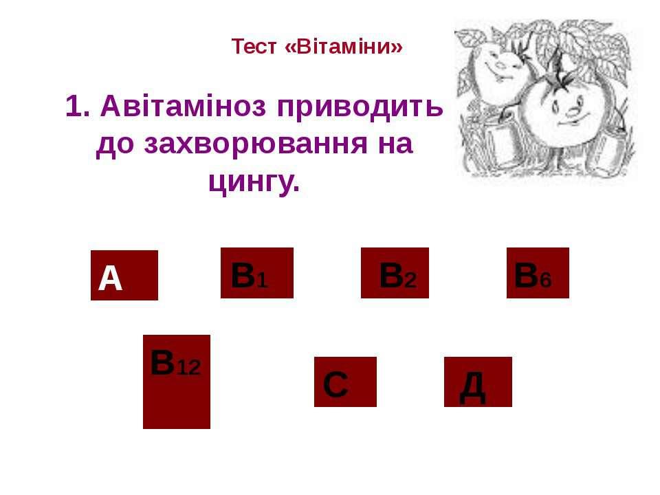 1. Авітаміноз приводить до захворювання на цингу. Тест «Вітаміни» А В12 В2 С ...