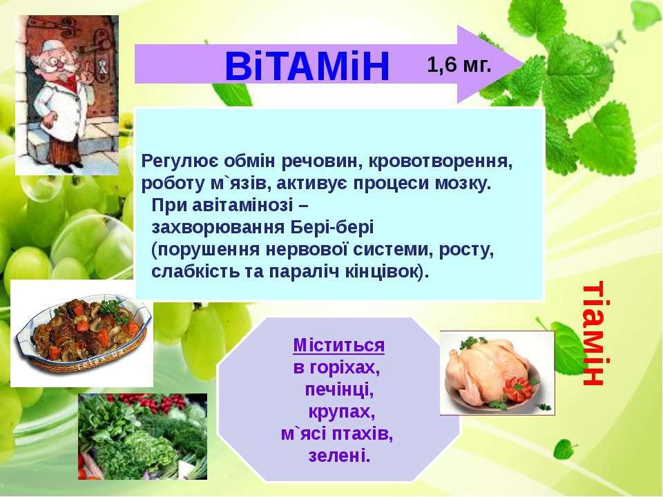 ВіТАМіН Міститься в горіхах, печінці, крупах, м`ясі птахів, зелені. тіамін 1,...