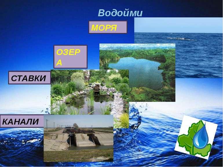 Водойми МОРЯ ОЗЕРА СТАВКИ КАНАЛИ