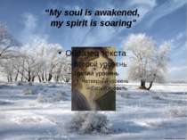"""My soul is awakened, my spirit is soaring"""