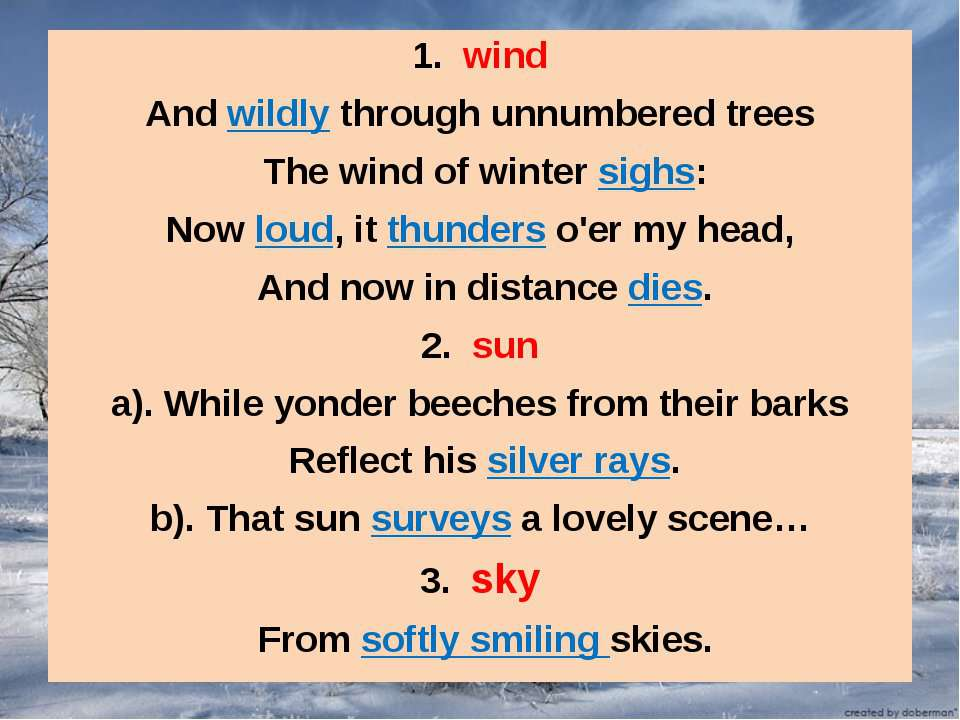 1. wind And wildly through unnumbered trees The wind of winter sighs: Now lou...