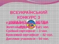 ВСЕУКРАЇНСЬКИЙ КОНКУРС З УКРАЇНОЗНАВСТВА «ПАТРІОТ» Приймало участь – 120 чол....