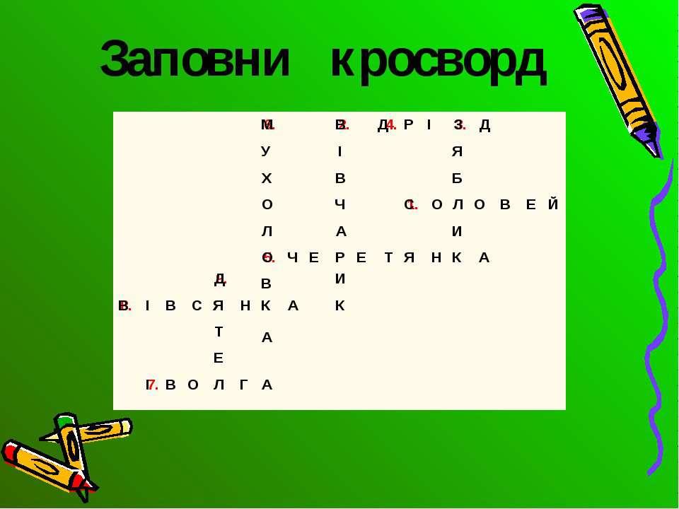 Заповни кросворд 1. С О Л В Е О Й 2. В І В Ч А Р И К 3. Б Я З И К 4. Д Д 5. О...