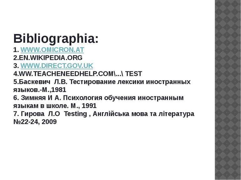 Bibliographia: 1. WWW.OMICRON.AT 2.EN.WIKIPEDIA.ORG 3. WWW.DIRECT.GOV.UK 4.WW...