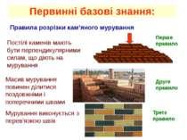 Первинні базові знання: Правила розрізки кам'яного мурування Постілі каменів ...