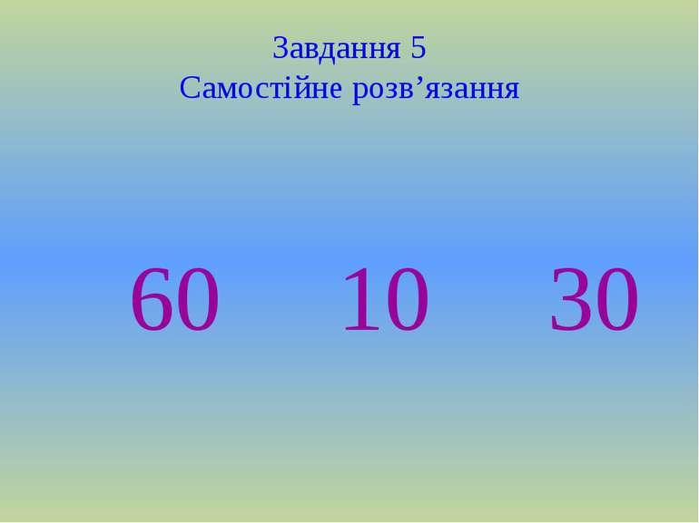 Завдання 5 Самостійне розв'язання 60 10 30