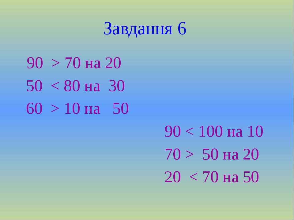 Завдання 6 90 > 70 на 20 50 < 80 на 30 60 > 10 на 50 90 < 100 на 10 70 > 50 н...