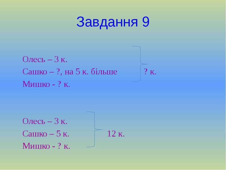 Завдання 9 Олесь – 3 к. Сашко – ?, на 5 к. більше ? к. Мишко - ? к. Олесь – 3...