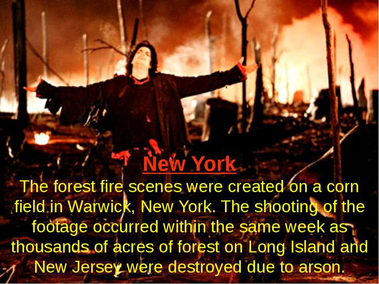 New York The forest fire scenes were created on a corn field in Warwick, New ...