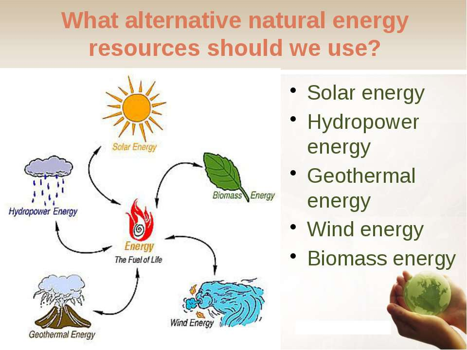 What alternative natural energy resources should we use? Solar energy Hydropo...