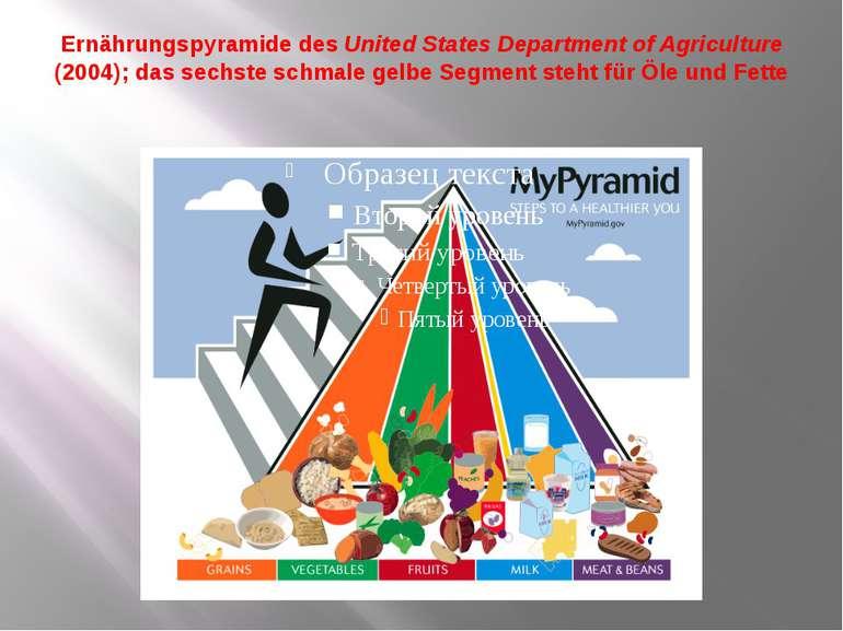 Ernährungspyramide des United States Department of Agriculture (2004); das se...