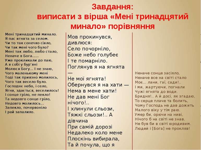 Завдання: виписати з вірша «Мені тринадцятий минало» порівняння Мені тринадця...