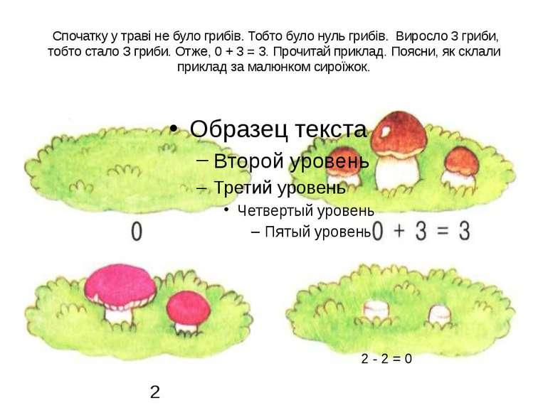 Спочатку у траві не було грибів. Тобто було нуль грибів. Виросло 3 гриби, то...