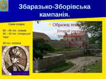 Збаразько-Зборівська кампанія. Сили сторін: 80 – 90 тис. козаків 30 – 40 тис....