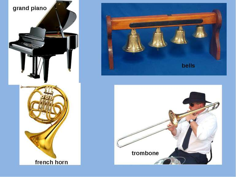 grand piano bells french horn trombone
