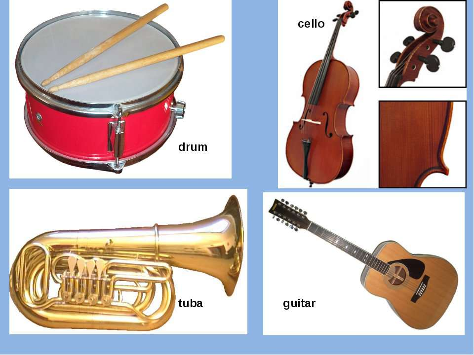drum cello tuba guitar