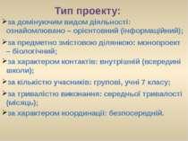 Тип проекту: за предметно змістовою ділянкою: монопроект – біологічний; за ха...