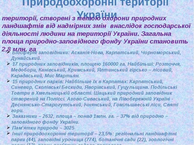 Природоохоронні території України території, створені з метою охорони природн...