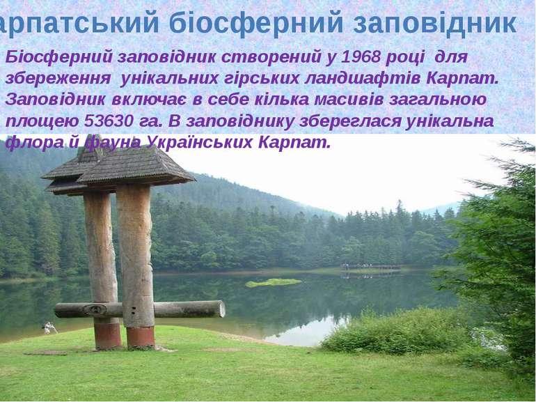 Карпатський біосферний заповідник Біосферний заповідник створений у 1968 році...