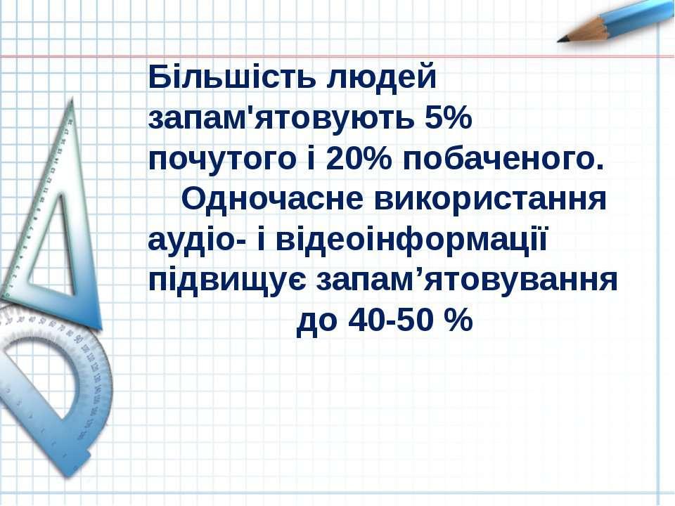 Більшість людей запам'ятовують 5% почутого і 20% побаченого. Одночасне викори...