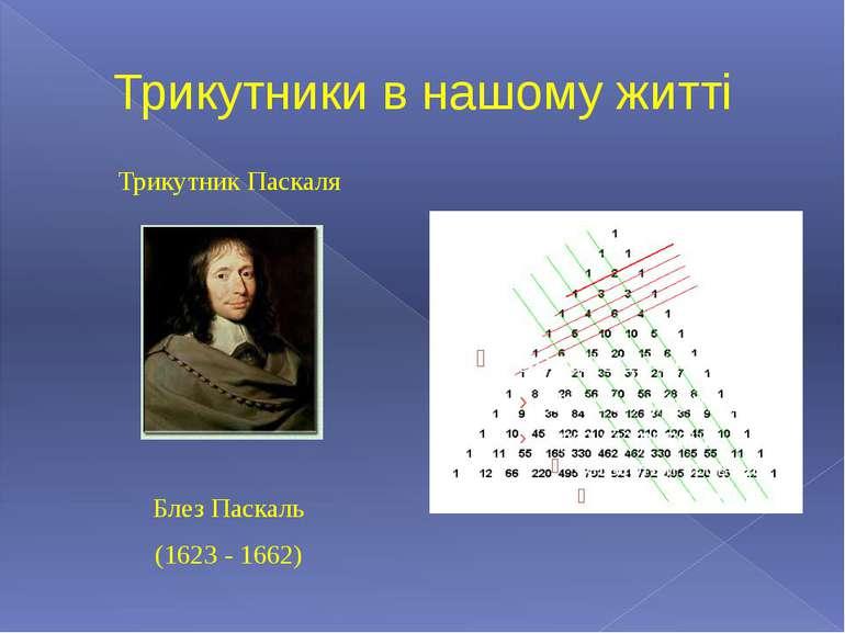 Трикутники в нашому житті Трикутник Паскаля Блез Паскаль (1623 - 1662)