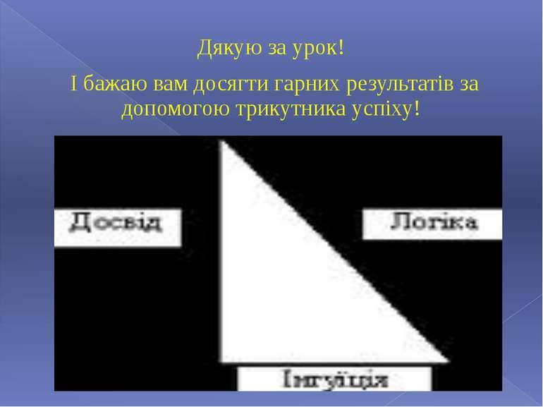Дякую за урок! І бажаю вам досягти гарних результатів за допомогою трикутника...