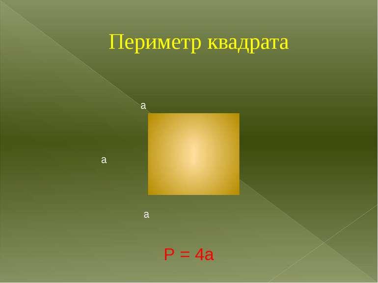 Периметр квадрата а а а а Р = 4а