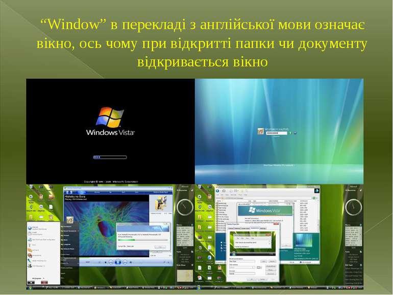 """""""Window"""" в перекладі з англійської мови означає вікно, ось чому при відкритті..."""