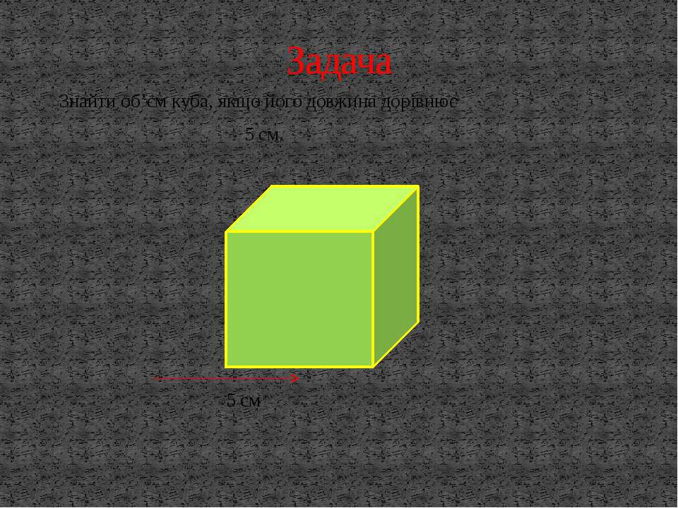 Знайти об'єм куба, якщо його довжина дорівнює 5 см. 5 см Задача