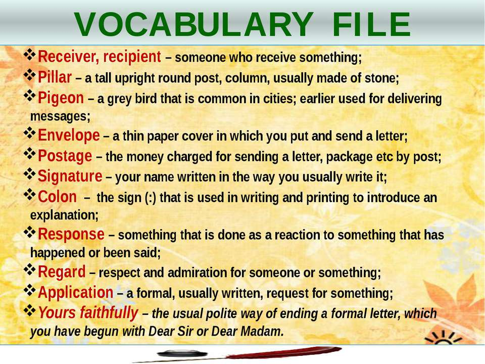 VOCABULARY FILE Receiver, recipient – someone who receive something; Pillar –...