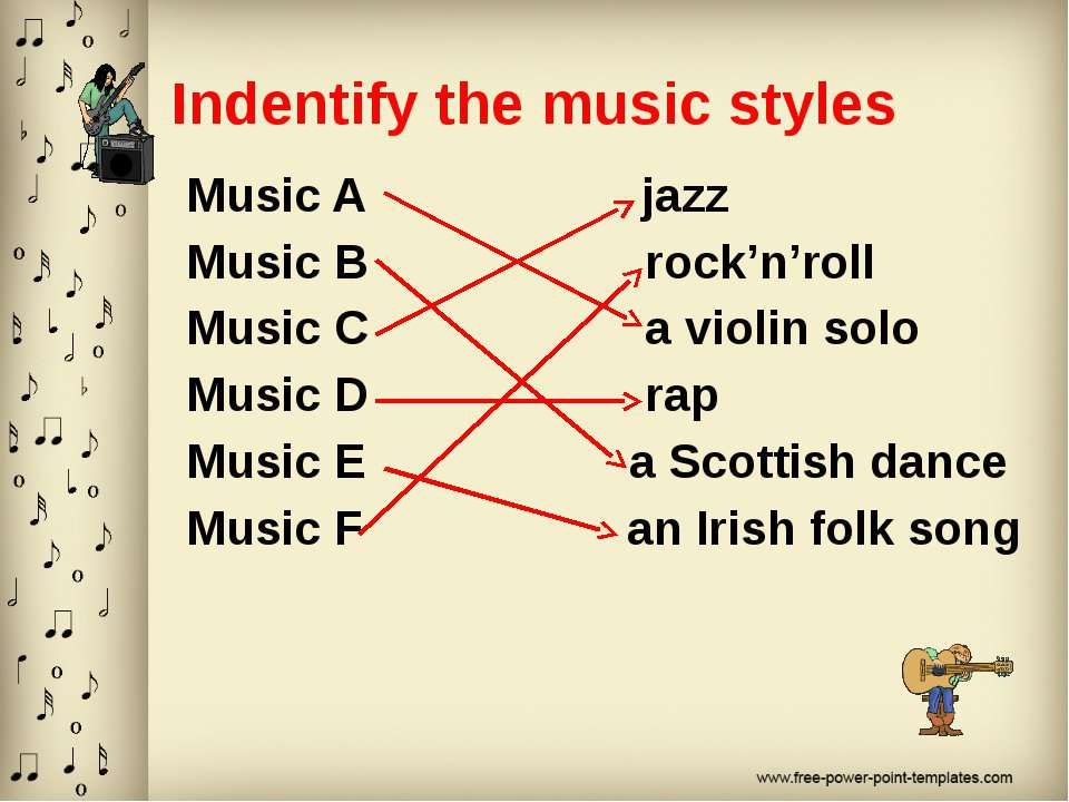 Indentify the music styles Music A jazz Music B rock'n'roll Music C a violin ...