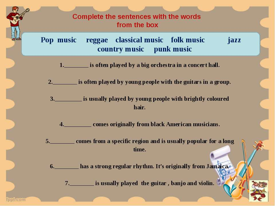 Complete the sentences with the words from the box   1.________ is often play...