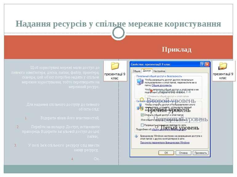 Приклад Щоб користувачі мережі мали доступ до певного комп'ютера, диска, папк...