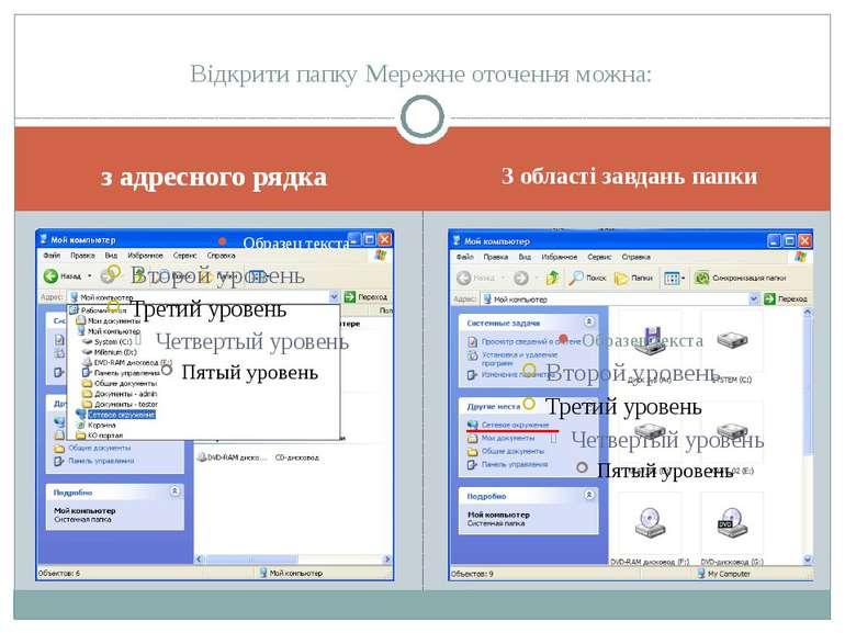 з адресного рядка З області завдань папки Відкрити папку Мережне оточення можна: