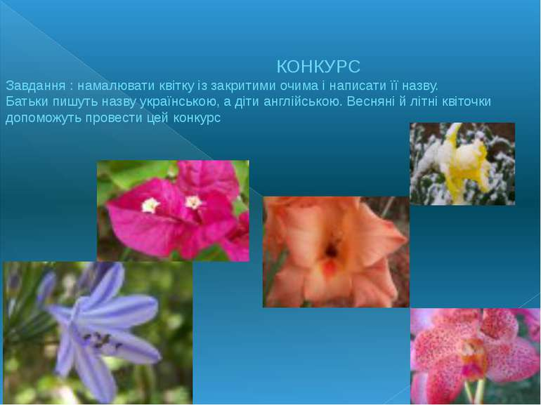 КОНКУРС Завдання : намалювати квітку із закритими очима і написати її назву. ...