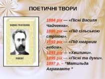 ПОЕТИЧНІ ТВОРИ 1884 рік — «Пісні Василя Чайченка». 1886 рік — «Під сільською ...
