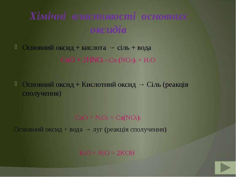 Хімічні властивості основних оксидів Основний оксид + кислота → сіль + вода C...
