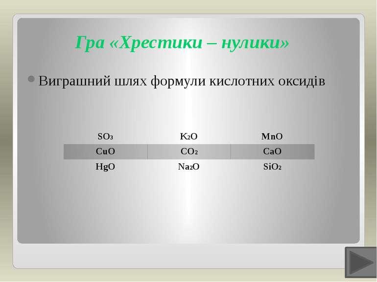 Гра «Хрестики – нулики» Виграшний шлях формули кислотних оксидів SO3 K2O MnO ...