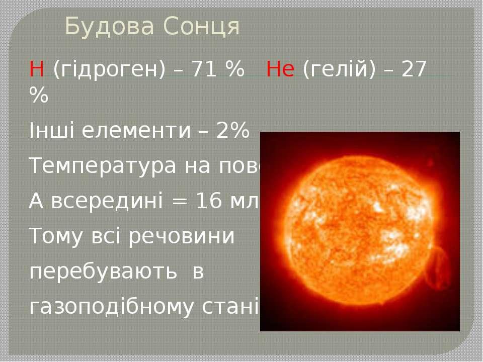Будова Сонця Н (гідроген) – 71 % Не (гелій) – 27 % Інші елементи – 2% Темпера...