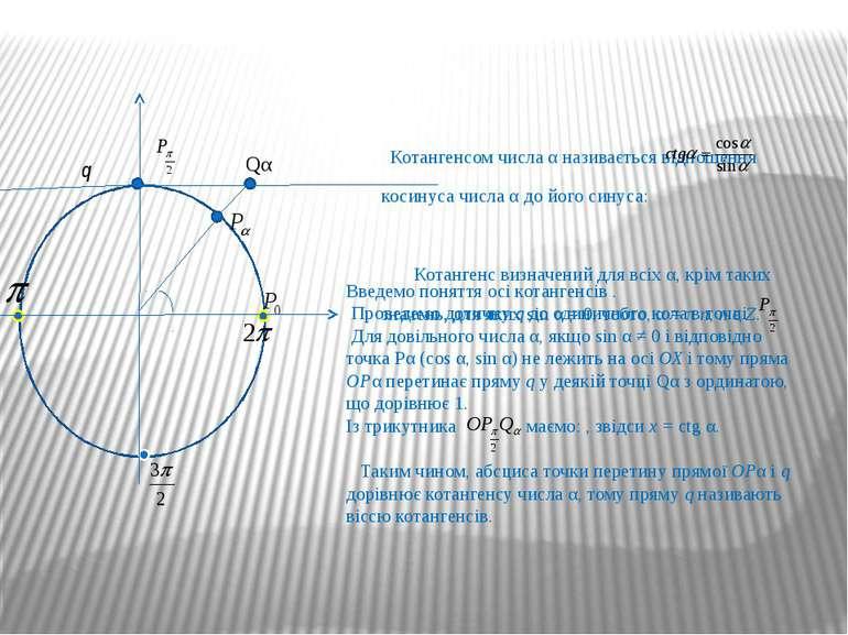 Котангенсом числа α називається відношення косинуса числа α до його синуса: К...